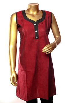 Maroon color South Cotton Self Design    This classy maroon kurthi with self design is perfect for those who adore simplicity. Team up with black pants and your elegant look for the day cannot get simpler. Lets simplify your lifestyle with this timeless piece.