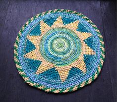 Sunshine Fair Isle Rag Rug by BraveHandTextiles on Etsy