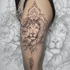 In this list you can find several experts in fine artists and experts dash delicate tattoos! Oh, do not lose the tattoo inspirations! Lion And Rose Tattoo, Leo Lion Tattoos, Lion Tattoo On Thigh, Girl Leg Tattoos, Leg Tattoos Women, Tattoos Skull, Body Art Tattoos, Sleeve Tattoos, Mandala Elefant Tattoo