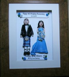 Personalised framed fimo unique character couple wedding anniversary gift £40.00