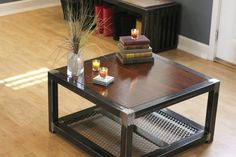 Metal and wood coffee table Kinda painful photos, as they cut off part of the table in EVERY photo, but cool table! Hand Made Steel and wood coffee table by Industrial Interiors | CustomMade.com