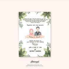 Muslim Wedding Invitation with Custom Portrait Couple Illustration for Walima Nikah Reception and Tropical Summer Garden Theme Save the Date – The Best Ideas Muslim Wedding Cards, Muslim Wedding Invitations, Wedding Invitation Cards, Invite, Party Vintage, Hymen, Couple Illustration, Portrait Illustration, Garden Illustration