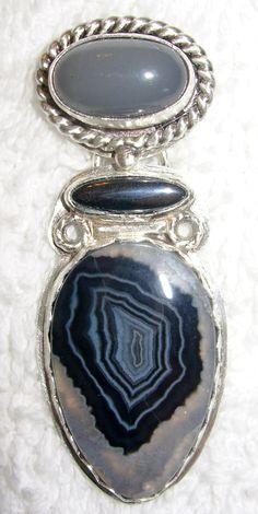 Chelle' Rawlsky moonstone, hematite, tuxedo agate sterling silver pendant OOAK