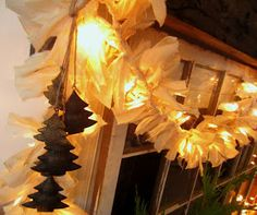 DIY:  Shabby Twinkle Garland - easy project, using string lights & strips of muslin. This garland is so versatile!