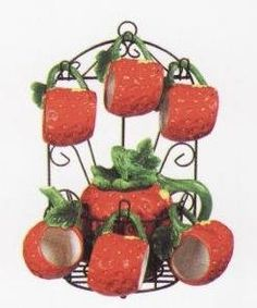 Strawberry 9pc Tea Set Pot Cups W Iron Rack