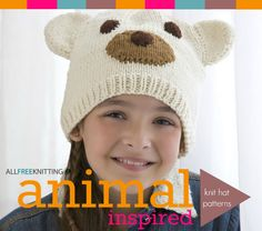 Polar Bear Hat in Red Heart With Love Solids - Discover more Patterns by Red Heart Yarns at LoveCrafts. From knitting & crochet yarn and patterns to embroidery & cross stitch supplies! Shop all the craft materials you need to start your next project. All Free Knitting, Knitting For Kids, Loom Knitting, Knitting Patterns Free, Baby Knitting, Crochet Patterns, Free Pattern, Hat Patterns, Free Crochet