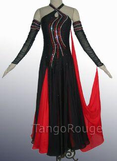Black Tango Ballroom Smooth Dance Competition Dress