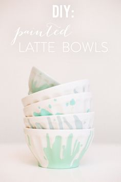 DIY painted Latte Bowls / Photography by: White Loft Studio