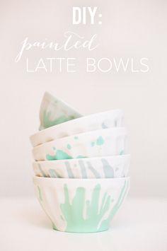DIY painted Latte Bowls / Photography by: White Loft Studio