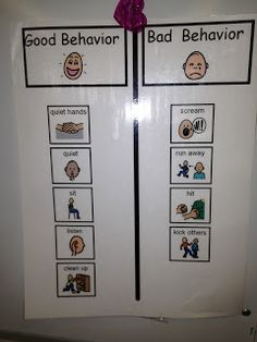 "Good/bad behavior visual to help teach kids to differentiate.--I call them ""good friend choices""  vs. ""not good friend choices"""
