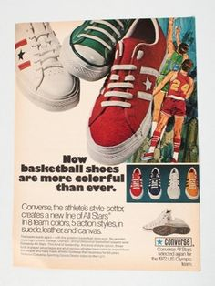 Converse All Stars Basketball Shoes 1971 Magazine Ad Vintage Print Vintage Sneakers, Retro Sneakers, Classic Sneakers, Vintage Shoes, Converse Vintage, Retro Advertising, Retro Ads, Vintage Advertisements, Vintage Ads