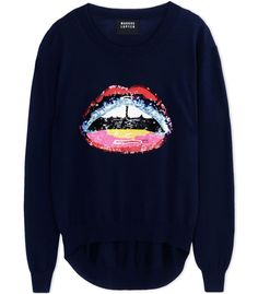Markus Lupfer Navy Blue Lip Sequin Sweater