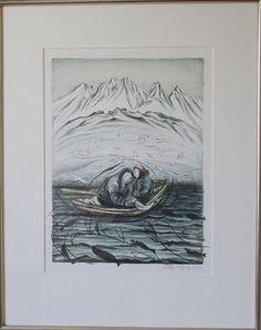 Aka Høegh. 1947 - . Litografi ( Grønland, Natur rigdom )