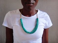 Teal Paper Bead Necklace by BeautifulUganda on Etsy, $28.00