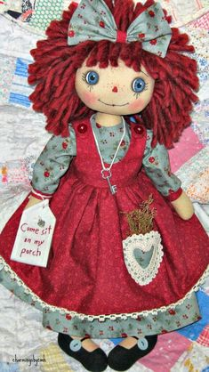 this sweet 18 inch Annie    has a new style pinafore   SOLD      her eyes were hand painted   and her face hand stitched   her full head of...