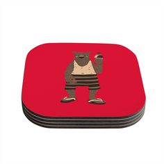 "Tobe Fonseca ""Vacation"" Red Brown Coasters (Set of 4)"