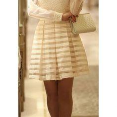 Elegant Stripe Ruffle Splicing Skirt For Women, WHITE, XL in Skirts   DressLily.com