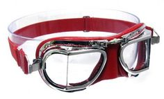 Mark 49 Compact Goggles - in Red leather with chrome frames.Compact goggles suitable for all open-faced helmet types (For very small to very large sizes). These all are hand made and hand polished chrome plating (No rusting!) over solid brass frames for that unique stylish look with red leather facemask hand stitched over soft foam for added comfort.