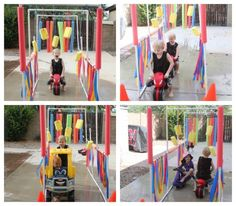 Kiddie Car Wash_cars  Supplies:  8 10-ft. pieces of 3/4″ PVC pipe 11 PVC T-joints 7 PVC elbow-joints 4 PVC cross joints 4 PVC caps 1 hose connector 7 pool noodles 5 sponges colored nylon rope plastic table cloths (you could also use trash bags) drill & 1/16″ drill bit scissors hacksaw or pvc cutters permanent marker