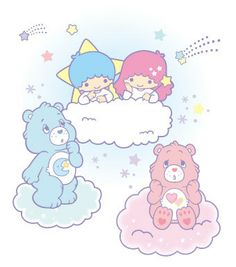Care Bears & Little Twin Stars Little Twin Stars, Care Bear Tattoos, Care Bear Party, Old School Cartoons, Kawaii Room, Printable Planner Stickers, Printables, Age Regression, Princess Coloring