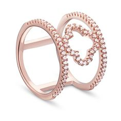 Simple Elegant 925 Sterling Silver Finger Ring, with Micro Pave AAA Zirconia Double Bands and Four Leaf Clover, Rose Gold; Size:about 18mm inner diameter, 16mm wide.<br/>Priced per 1