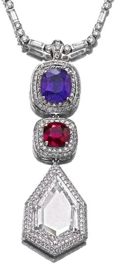 Sotheby's Sapphire, ruby and diamond necklace~ #LadyLuxuryDesigns