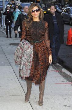 932abc386c7 Lady Gaga Thom Browne sunglasses. See more. Eva Mendes in animal print  dress Vestidos Dolce Gabbana