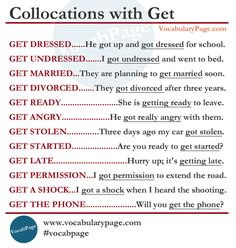Collocations with Get #English www.vocabularypage.com