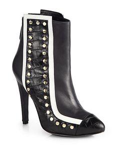 Aperlai - Studded Bicolor Leather Ankle Boots - Saks.com