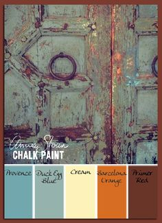 Peeling layers reveal an Annie Sloan Chalk Paint     color palette with Duck Egg Blue emphasized.