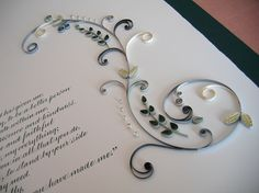 Quilled Marriage Certificate - detail by all things paper, via Flickr...this also would be beautiful on a card...