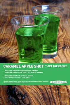 Caramel Apple Shot we could do any butterscotch liqueur and sour apple pucker! Haan Lohmeyer Haan Lohmeyer Z McEuen.PaMMy A Liquor Drinks, Cocktail Drinks, Alcoholic Drinks, Bartender Drinks, Cocktail Recipes, Caramel Apple Shots, Caramel Apples, Caramel Vodka, Sour Apple Pucker