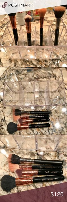 Mac+Sigma 4 Face Brush with Big Organizer ValueSet Premium Quality Clear Plastic Vanity Organizer Original Price : $35 plus tax) #1 BestSeller  Mac 187 Duo Fibre Face Brush (Original Price : $45 plus tax) Sigma F30 Large Powder  (Original Price : $30 plus tax) Sigma F40 Large Angle Contour  (Original Price : $25 plus tax) Sigma 3DHD Kabuki Buffing Foundation  (Original Price : $25 plus tax)   All worth total 160+tax. Used once. Excellent condition. All brush will be cleaned again with brush…