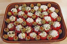 Stuffed tomatoes with feta cheese cream 8 - Rezepte - Party Finger Foods, Snacks Für Party, Finger Food Appetizers, Appetizers For Party, Appetizer Recipes, Snack Recipes, Drink Recipes, Tapas, Snacks Sains