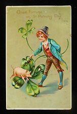 1908 St. Patricks Day Greetings Good Fortune Pig Four Leaf Clover Boy Hat Tuck