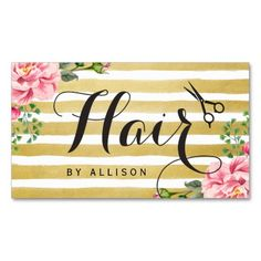 Hair Stylist Scissors Script Floral Gold Striped Double-Sided Standard Business Cards (Pack Of 100)