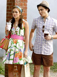 Blair's Hamptons-chic alice + olivia floral frock was almost shown up by Chuck Bass' impressive ability to pull off two plaid patterns and a straw fedora.
