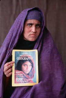 Sharbat Gula is pictured in 2002  after Steve McCurry returned to Afghanistan and successfully located the then 29 year old mother of three and her family. Up until that time, neither Gula nor her husband had ever heard of or seen the 1985 photograph.   Posted by Carl at 11:10 PM  Labels: National Geographic, Steve McCurry
