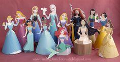 Disney 3D Paper Dolls.  Silhouette Trace + Print & Cut. #silhouettedesignteam