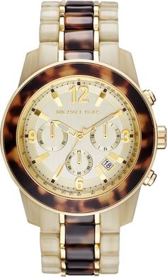Michael Kors Ivory and Tortoise Playa Chronograph  Quartz Women's Watch – MK5764