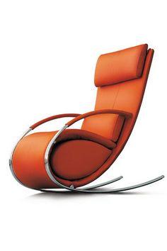 orange leather & chrome rocking chair.