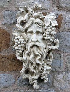 Garden Ornaments : Green Man Garden Ornaments : Stone Face Garden Ornament 'Small Bacchus'
