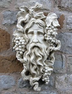 Garden Ornaments : Green Man Garden Ornaments : Stone Face Garden Ornament 'Small Bacchus'