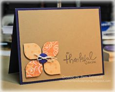 handmade card ... navy blue base with kraft layer and peach patterned paper Cricut cut .... cute but simple thank you card ...  Leaf with Cricut!