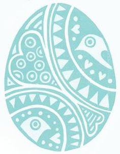 Easter egg card from lino cut