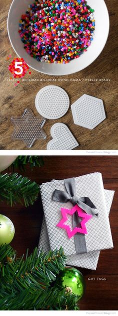 Hama Bead Gift Tags-- how cute for Xmas?!