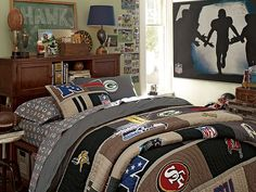 I love the PBteen NFL Beadboard Bedroom on pbteen.com