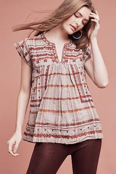 Tatyana Embroidered Top - anthropologie.com
