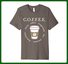 Mens COFFEE Christ offers forgiveness for everyone everywhere Medium Asphalt - Food and drink shirts (*Amazon Partner-Link)
