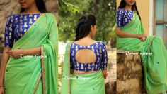 Looking for latest blouse back neck designs for silk sarees? Here are trendy models to try with your pattu sarees and look graceful! Blouse Back Neck Designs, Blouse Neck Patterns, Silk Saree Blouse Designs, Fancy Blouse Designs, Kurti Neck Designs, Silk Sarees, Chiffon Saree, Indian Sarees, Sumo